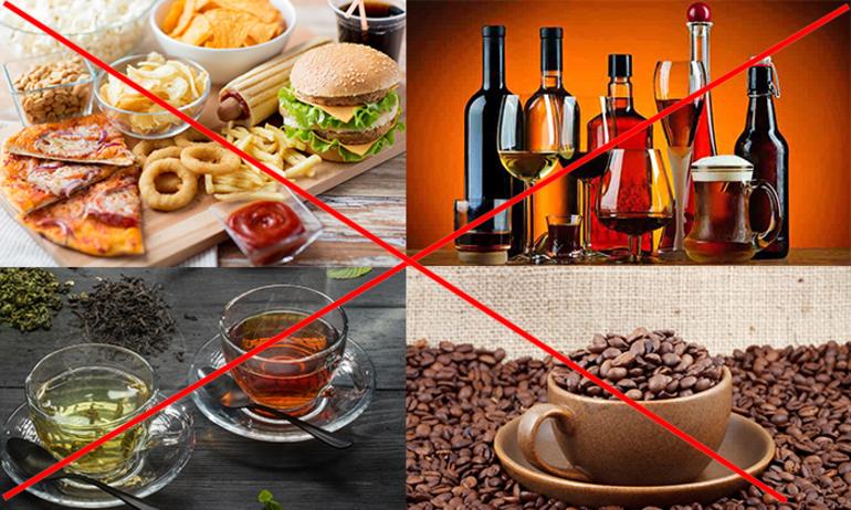 Рекомендуется отказаться от вредной пищи, чая и кофе, алкоголя.